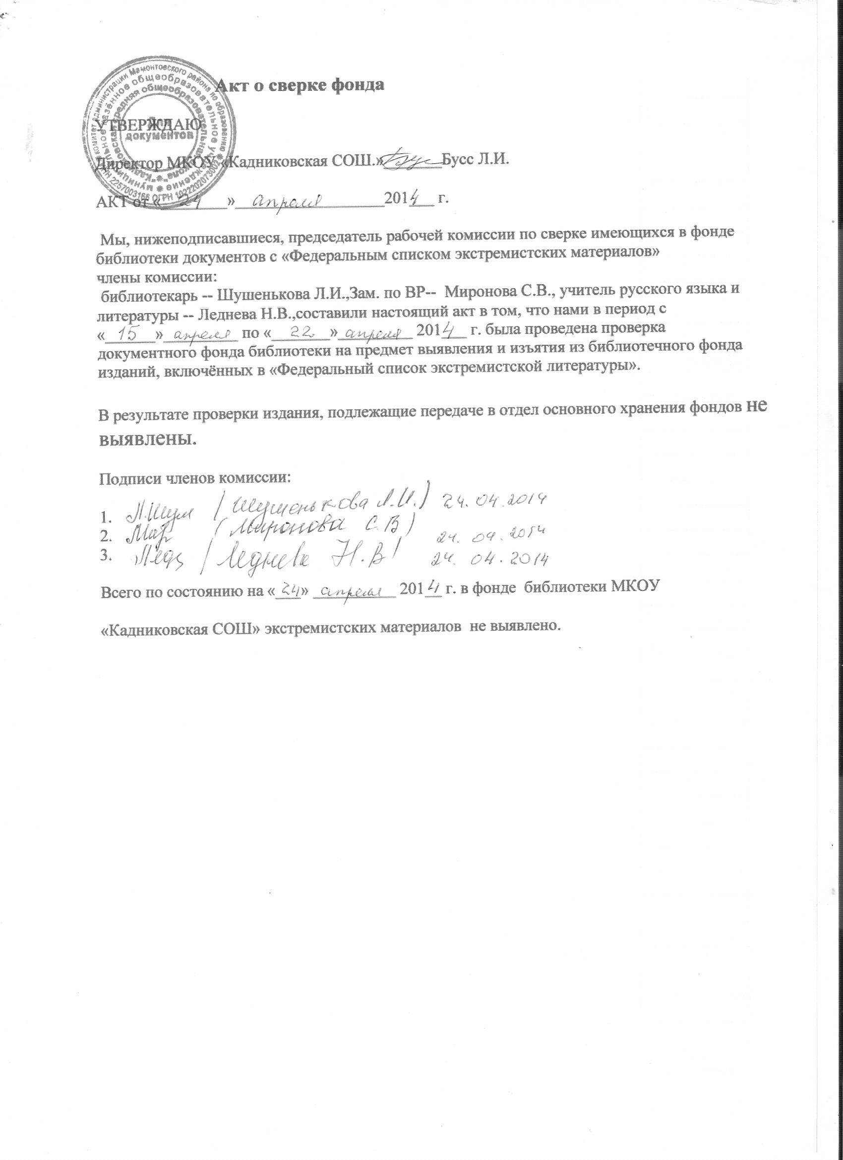 По инструкция экстремизму библиотекаря должностная